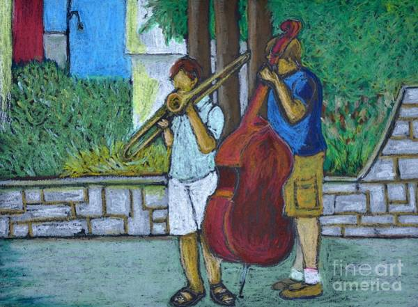 Montreal Street Scene Wall Art - Pastel - Two Musicians by Reb Frost