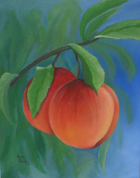 Mary Rogers Painting - Two Peaches by Mary Rogers