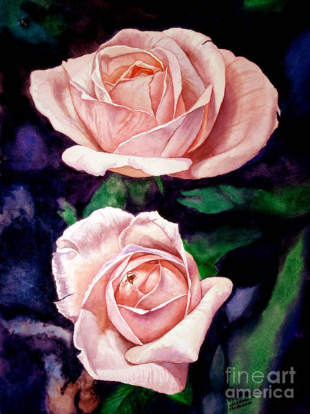 Painting - Two Roses by Christopher Shellhammer
