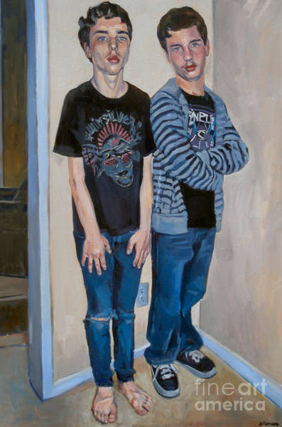 Painting - Two Thirds Portrait Of Eric And Ryan by Deb Putnam