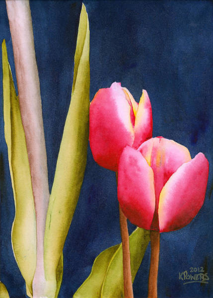 Painting - Two Tulips by Ken Powers