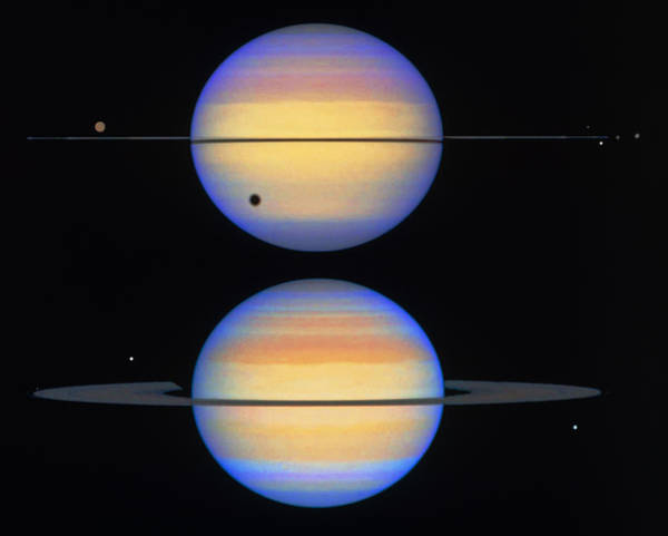 Dione Photograph - Two Views Of Saturn by Nasaesastscie.karkoschka, U.arizona