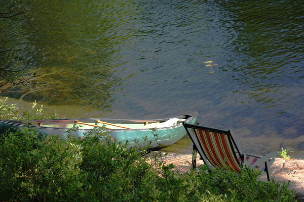Typical Canoe And Chair Art Print by Carolyn Reinhart