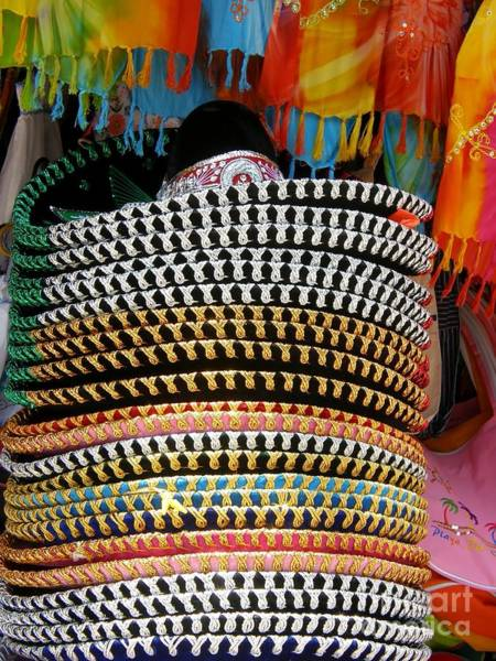 Hats For Sale Photograph - Typically Mexican by Sophie Vigneault