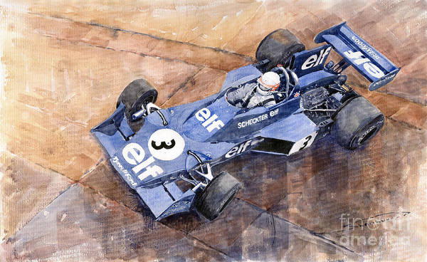 Car Painting - Tyrrell Ford 007 Jody Scheckter 1974 Swedish Gp by Yuriy Shevchuk
