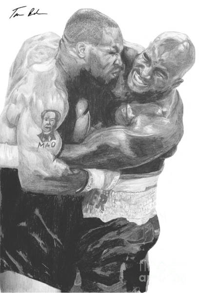 Boxing Drawing - Tyson Vs Holyfield by Tamir Barkan