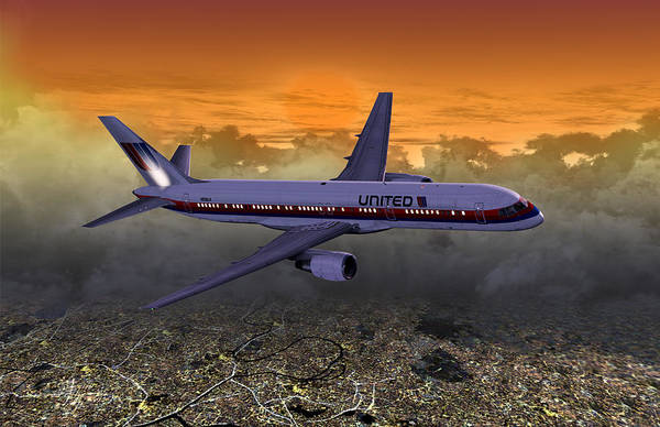 Digital Art - Ual 757 02 by Mike Ray
