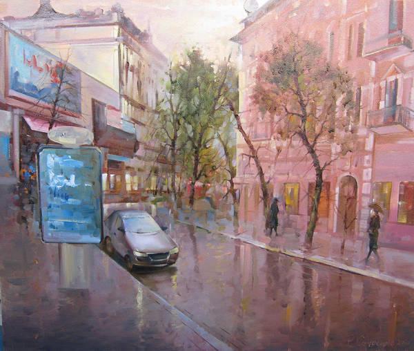 Follow Me Painting - Ukraine. Kiev. City. Ukrainian Streets. Podil by Roman Semesiuk