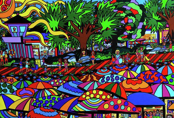 Wall Art - Painting - Umbrella Beach by Karen Elzinga