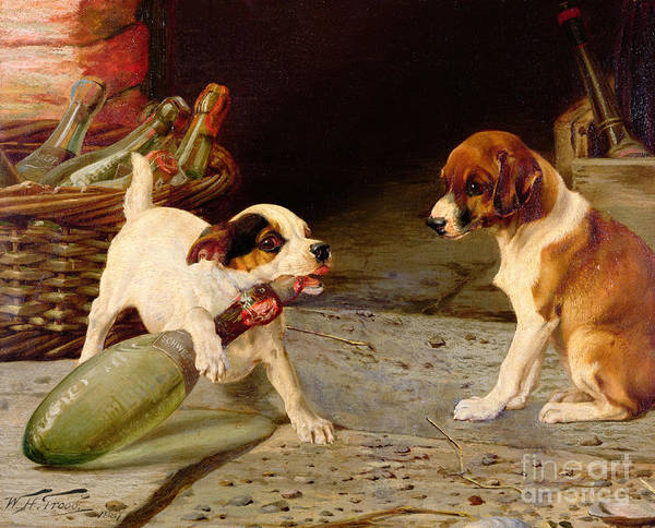 Jack Russell Wall Art - Painting - Uncorking The Bottle by William Henry Hamilton Trood