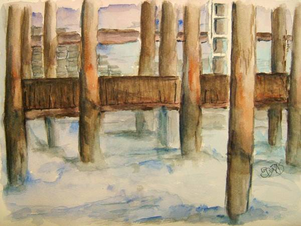 Gulf Shores Alabama Painting - Under The Docks by Elaine Duras