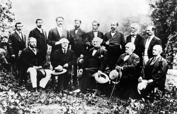 Beauregard Photograph - Union And Confederate Leaders, Standing by Everett