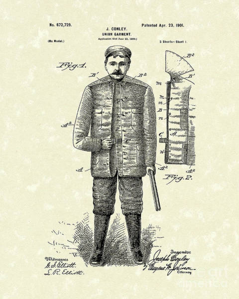 Drawing - Union Garment 1901 Patent Art by Prior Art Design