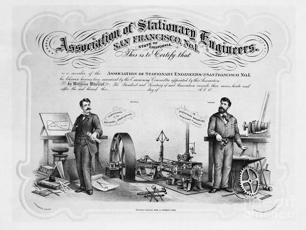 Membership Photograph - Union Membership Card, 1886 by Photo Researchers