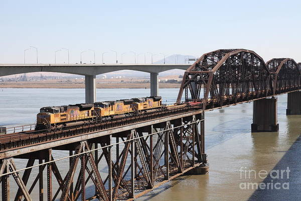 Carquinez Bridge Wall Art - Photograph - Union Pacific Locomotive Trains Riding Atop The Old Benicia-martinez Train Bridge . 5d18850 by Wingsdomain Art and Photography