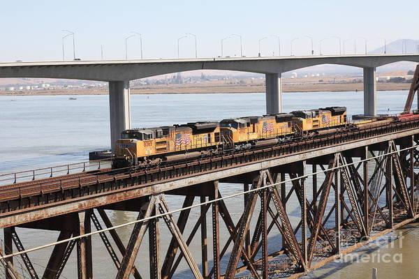 Carquinez Bridge Wall Art - Photograph - Union Pacific Locomotive Trains Riding Atop The Old Benicia-martinez Train Bridge . 5d18851 by Wingsdomain Art and Photography