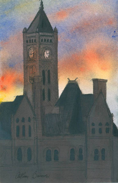 Ashes Painting - Union Station by Arthur Barnes