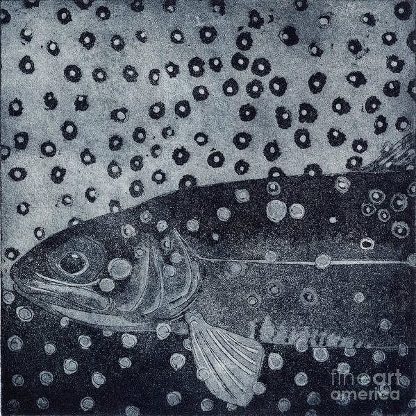 Painting - Unique Etching Artwork - Brown Trout  - Trout Waters - Trout Brook - Engraving by Urft Valley Art