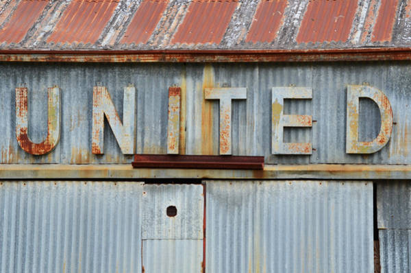 Wall Art - Photograph - United Rusted Metal Sign by Nikki Marie Smith