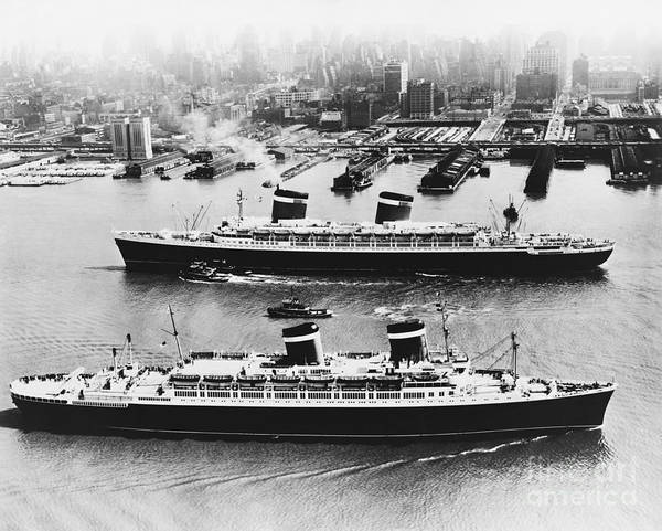 Photograph - United States Lines Ships by Photo Researchers