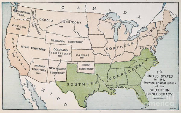 Photograph - United States Map, 1863 by Granger