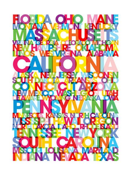 Text Map Digital Art - United States Usa Text Bus Blind by Michael Tompsett