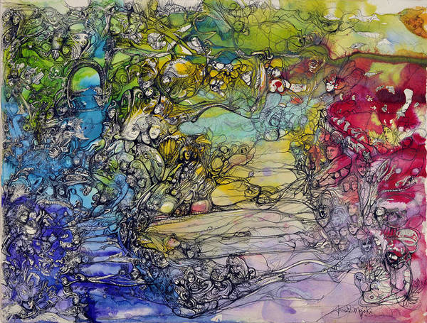 Painting - Universal Garden by Anne-D Mejaki - Art About You productions
