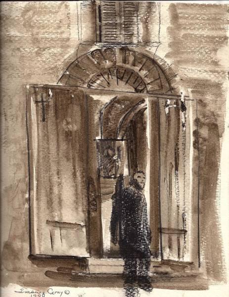 Uno Negozio In Siena Watercolor And Conte Crayon Art Print