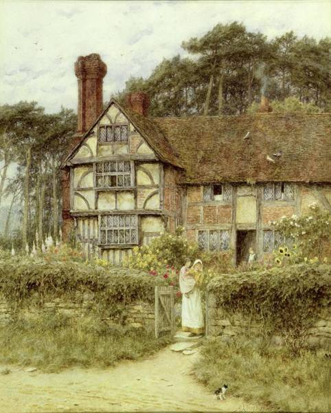 Half Timbered Painting - Unstead Farm Godalming by Helen Allingham