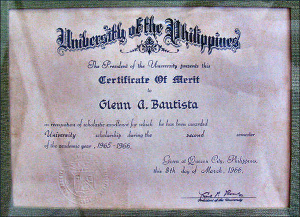 Photograph - Up Certificate Of Merit 1966 by Glenn Bautista