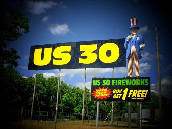 Wall Art - Photograph - Us 30 Fireworks by Michael L Kimble