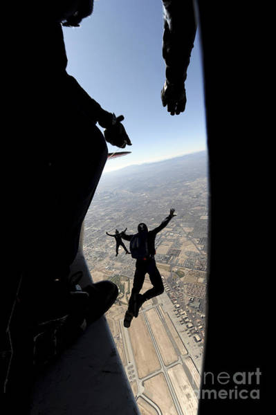 Skydiver Photograph - U.s. Air Force Academy Parachute Team by Stocktrek Images