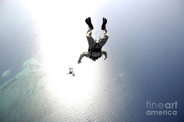 Skydiver Photograph - U.s. Air Force Pararescuemen Conducting by Stocktrek Images
