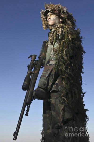 Sniper Photograph - U.s. Air Force Sharpshooter Dressed by Stocktrek Images