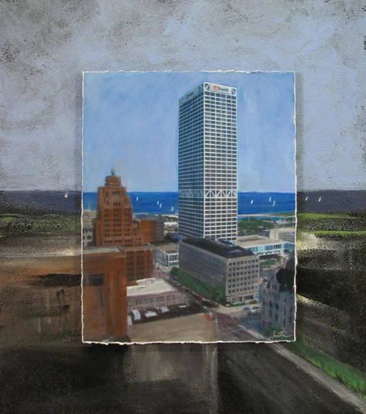 Mixed Media - Us Bank Lake Michigan Layered by Anita Burgermeister