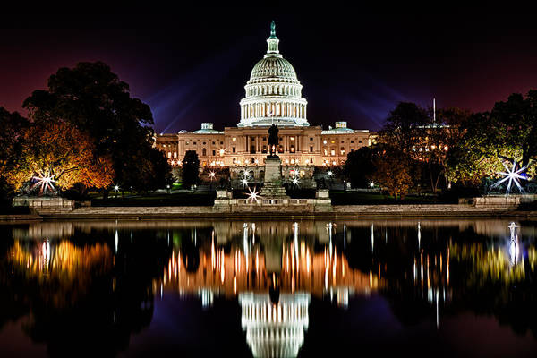 Photograph - Us Capitol Building And Reflecting Pool At Fall Night 2 by Val Black Russian Tourchin