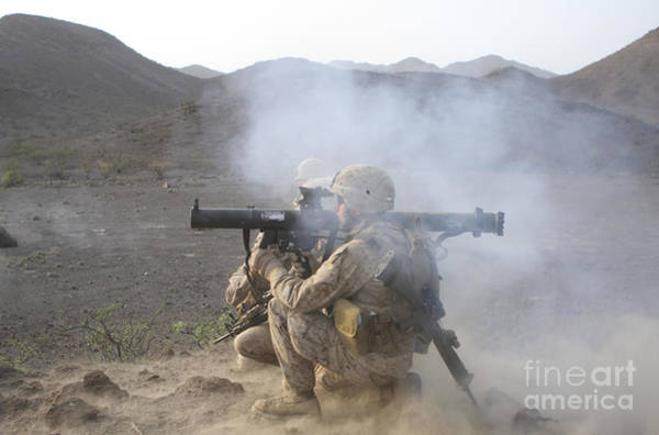 Mounted Shooting Photograph - U.s. Marine Launches A High-explosive by Stocktrek Images