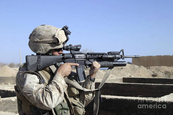 Grenade Launcher Wall Art - Photograph - U.s. Marine Sites Through The Scope by Stocktrek Images