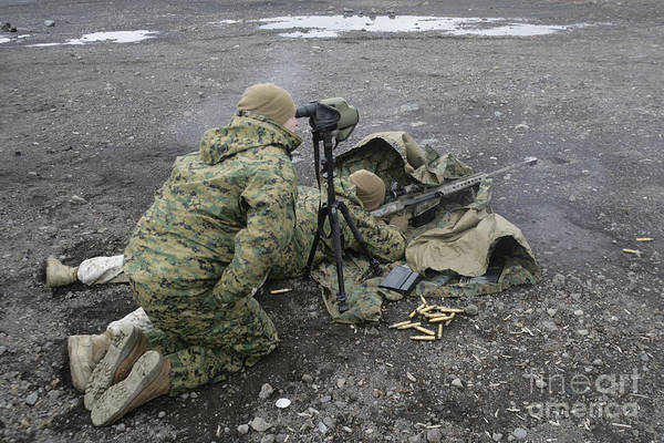 Sniper Photograph - U.s. Marines Fire An M107 Special by Stocktrek Images