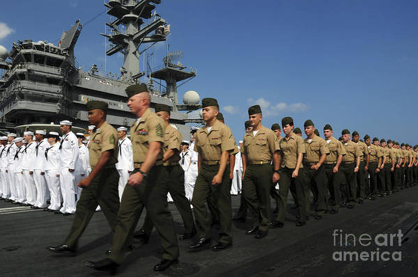 Shipmates Photograph - U.s. Marines March In Formation To Move by Stocktrek Images