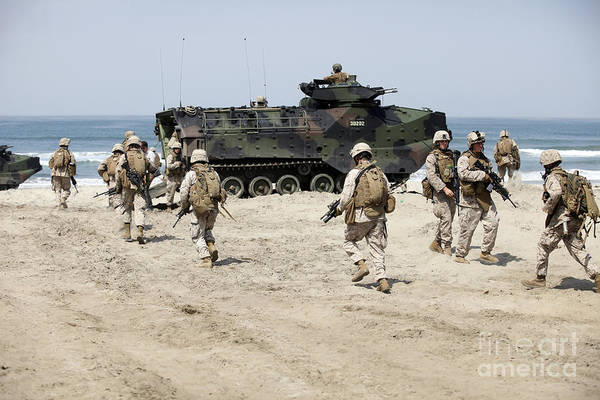 Aav Photograph - U.s. Marines Return To Their Amphibious by Stocktrek Images