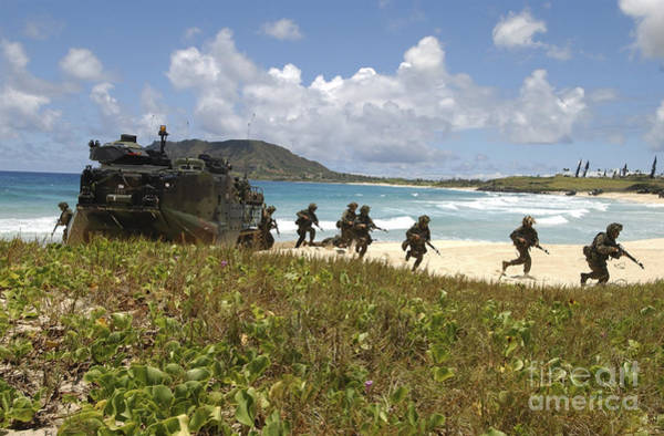 Aav Photograph - U.s. Marines Run Out Of An Amphibious by Stocktrek Images