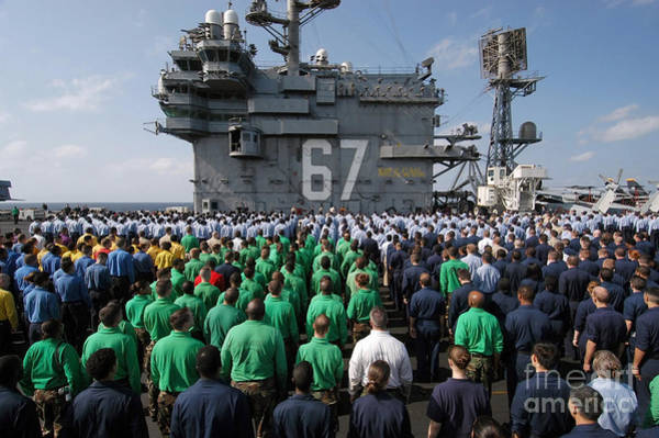 Shipmates Photograph - U.s. Navy Sailors Stand At Attention by Stocktrek Images