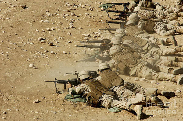 Battleground Photograph - U.s. Navy Seabees Fire M-4 And M-16a2 by Stocktrek Images