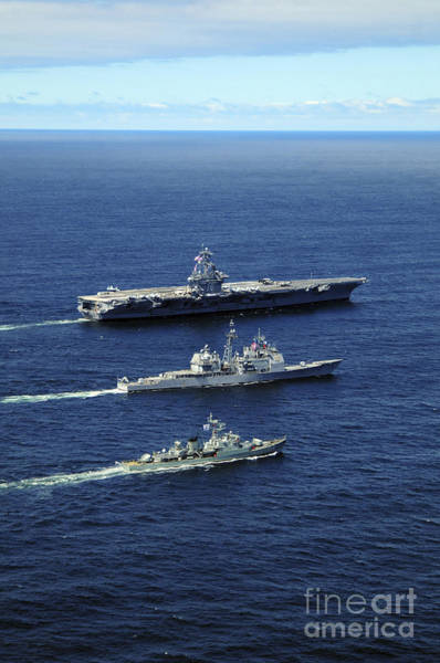 Uss Carl Vinson Photograph - U.s. Navy Ships Perform Tactical by Stocktrek Images