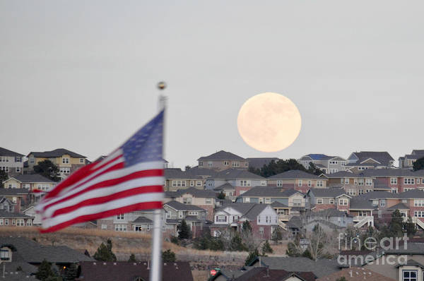 Photograph - Usa Flag And Moon by Cheryl McClure
