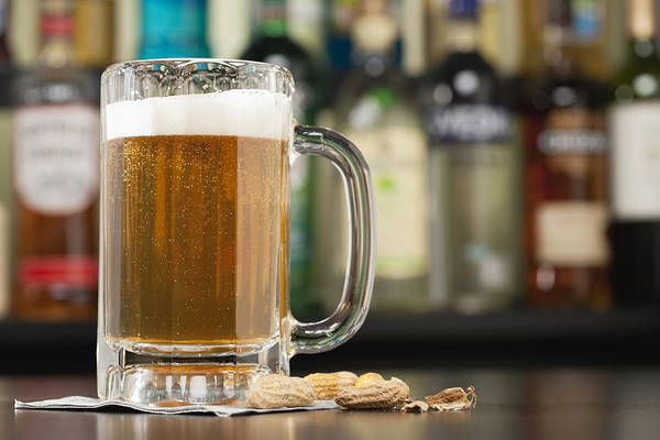 Bar Counter Photograph - Usa, Illinois, Metamora, Glass Of Beer On Bar Counter by Vstock LLC