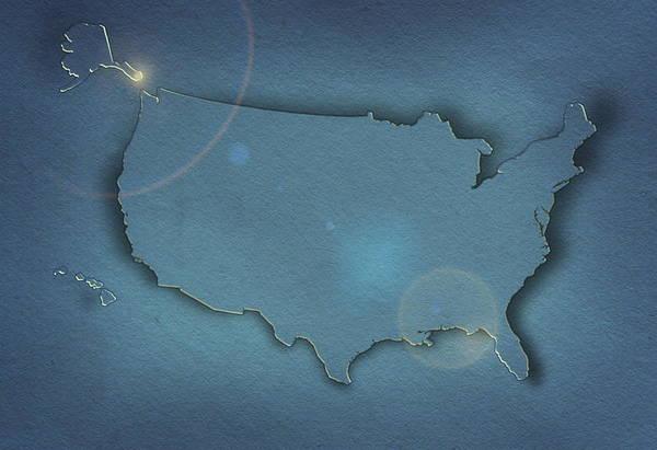 Usa Map Photograph - Usa Map (blue) by Art Grafts