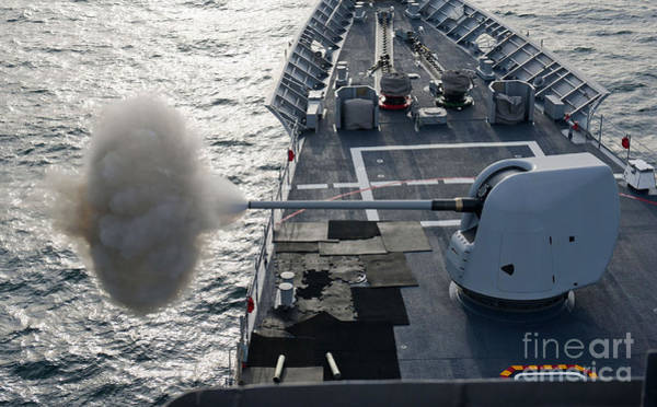 Gunfire Photograph - Uss Cape St. George Fires Its Mk-45 by Stocktrek Images