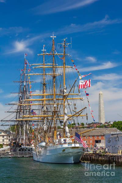 Photograph - Uss Constitution And The Eagle Under The Bunker Hill Monument by Susan Cole Kelly